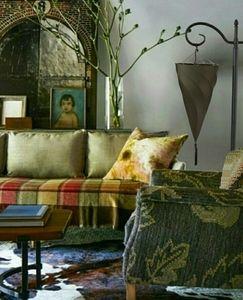 Set Olive Cresendello Hanging Floor Lamps w Tassle